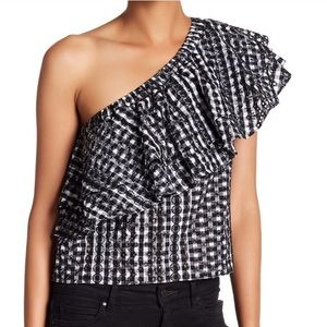 Rebecca Taylor embroidered gingham lily top